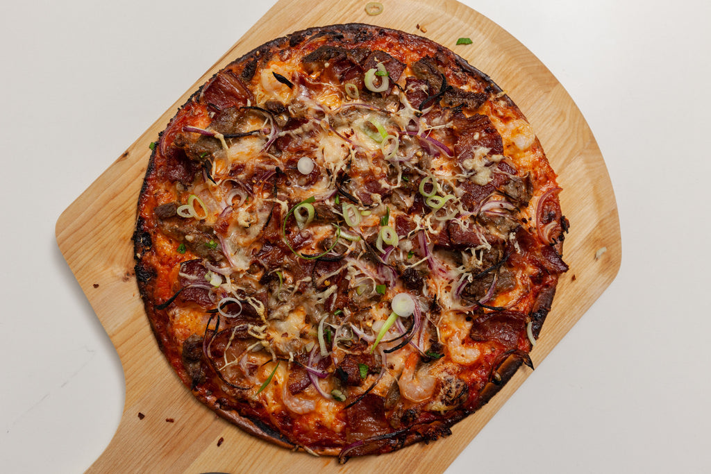 Beef Shrimp Bacon Pizza