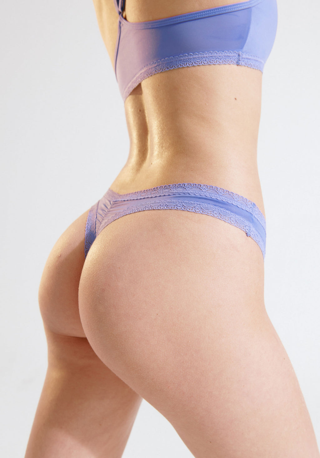 Micro Lace Trim Thong | Bluebell