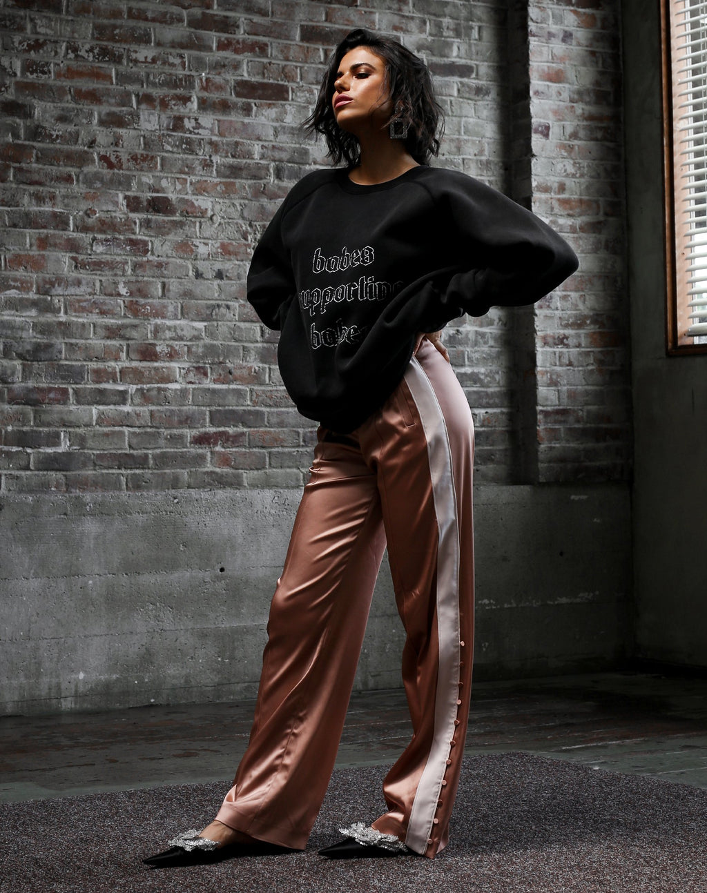 """BABES SUPPORTING BABES"" Big Sister Crew Neck Sweatshirt 