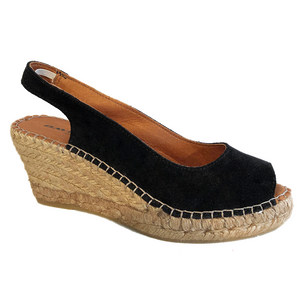 Espadrille Wedges | Black Suede