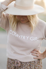 "The ""COUNTRY GIRL"" Classic Crew Neck Sweatshirt in Toasted Almond 