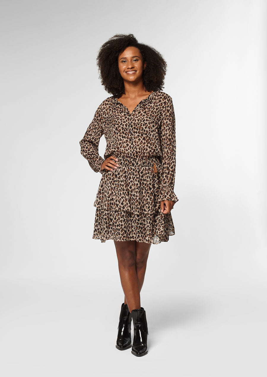 Gaby Longsleeve Dress | Leopard
