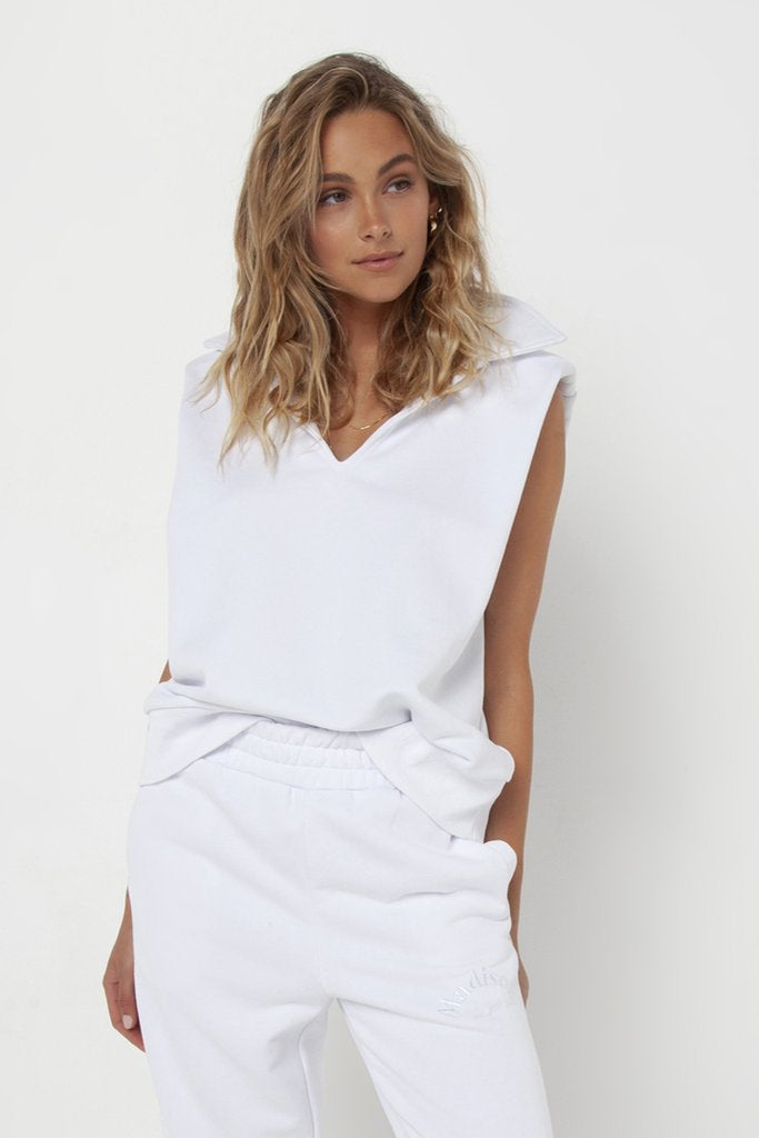 Klaire Sweater Singlet | White
