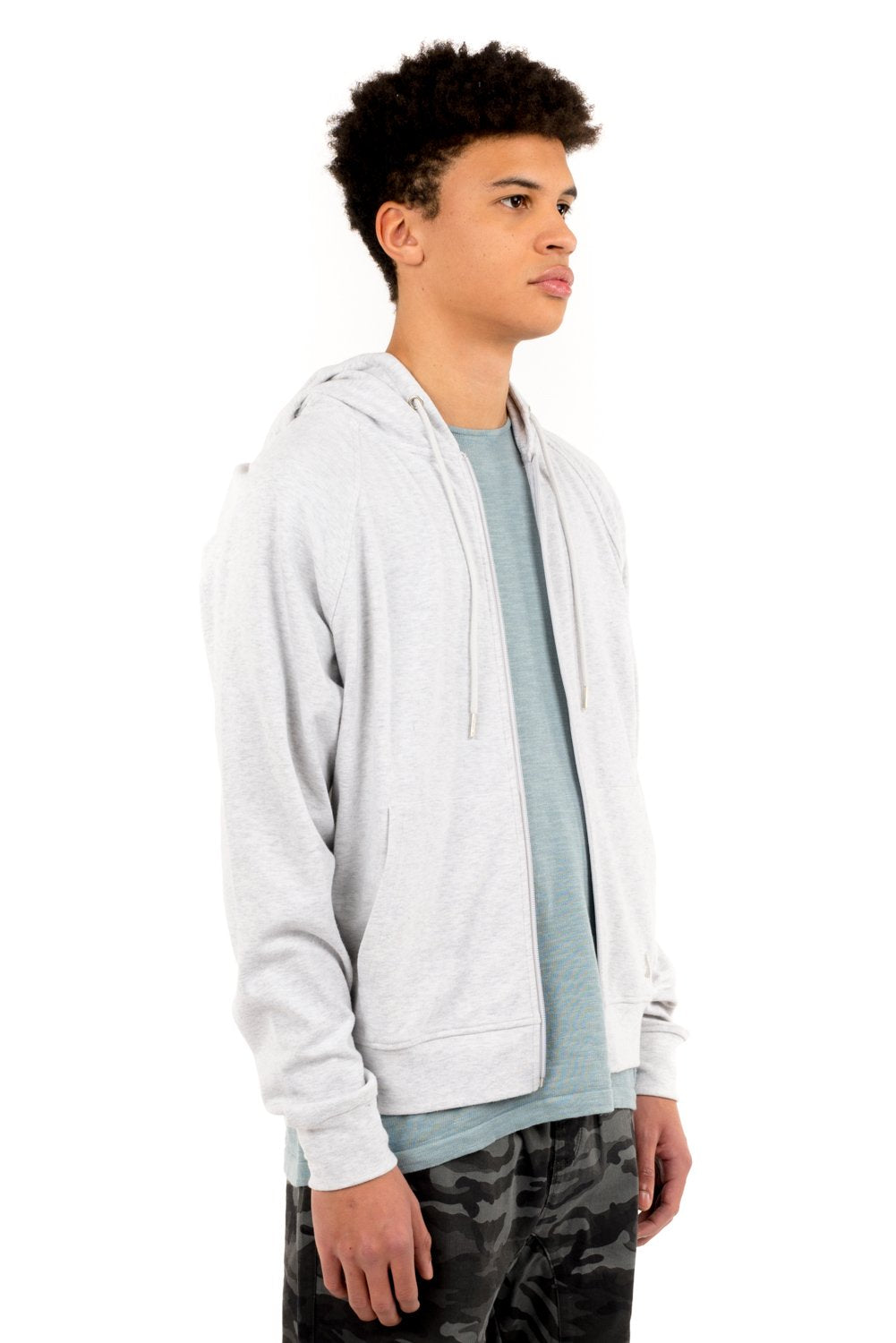 Men's Raglan Zip Beach Hoodie | Grey
