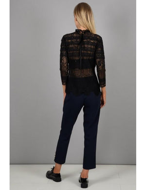 Lace Top with Pleats | Black