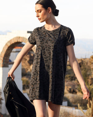 """SLATE LEOPARD"" Tee Dress 