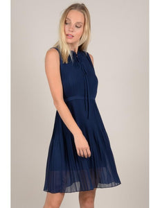 Pleated Mini Dress | Navy Blue