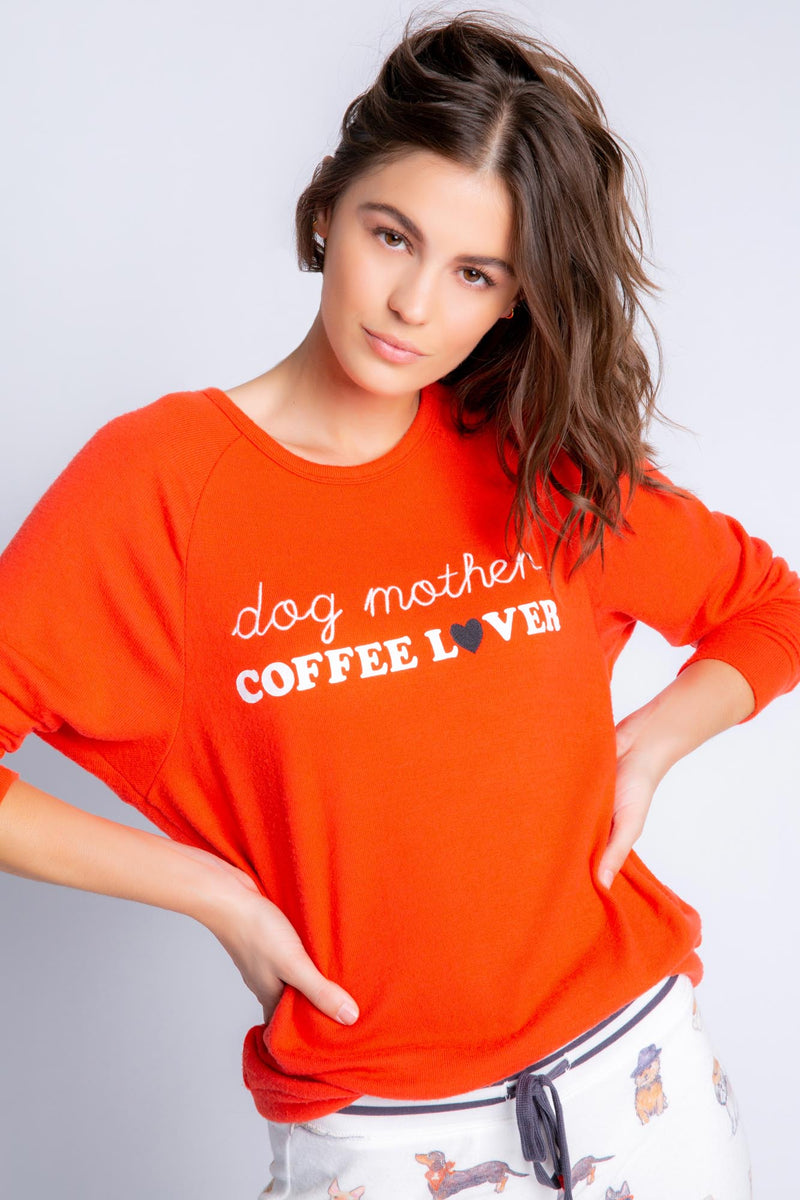Coffee + Canines Long Sleeve Top | Fire