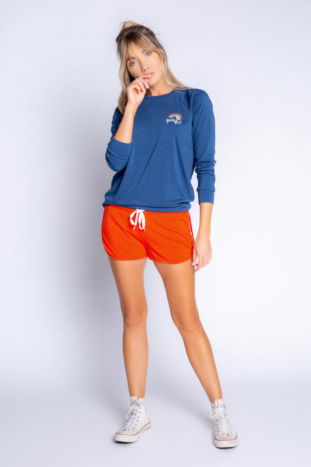 Retro Lounge Long Sleeve Top | Navy