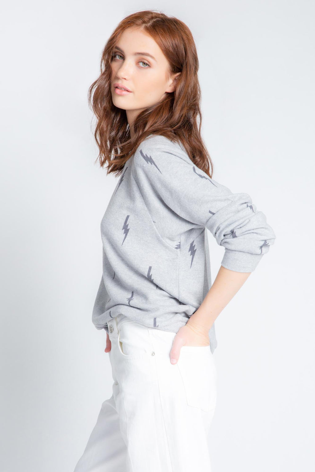 Stormy Monday Lightning Bolt L/S | Heather Grey