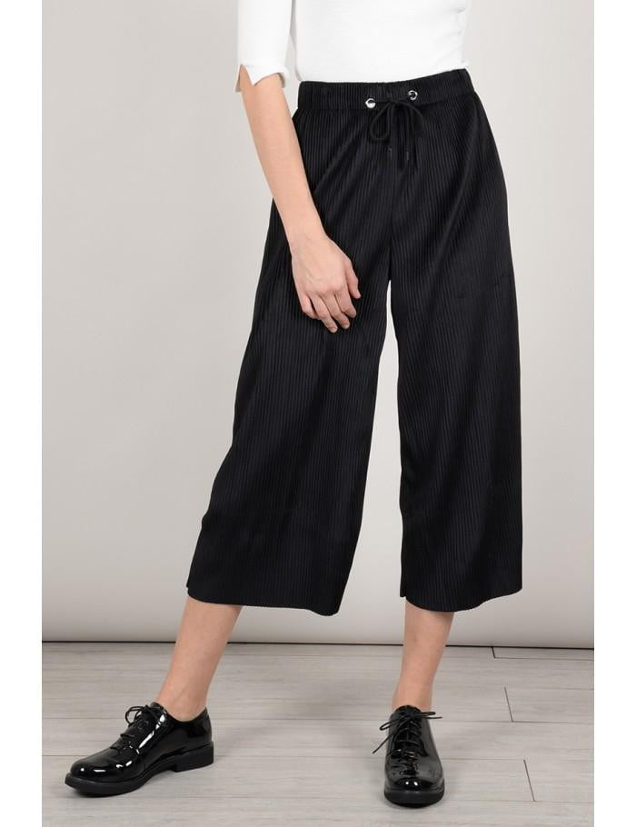 Short Wide Trousers | Black