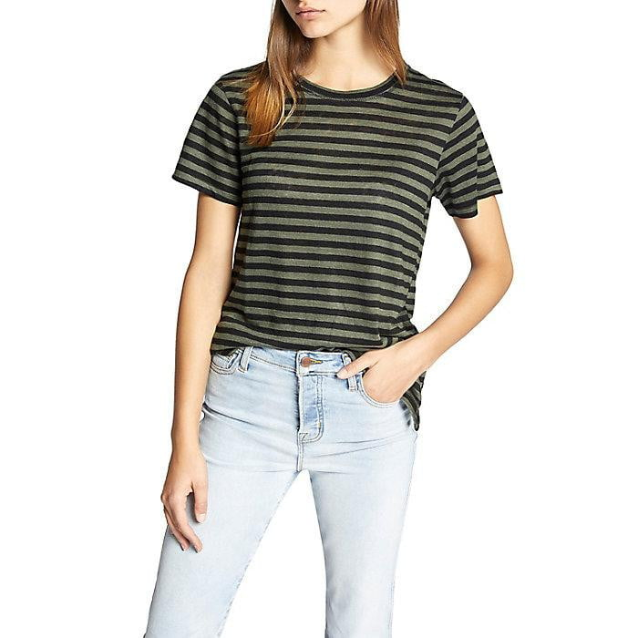 Sutter Stripe Linen Tee | Black + Green