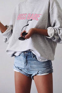 Boss Babe Crewneck | Grey