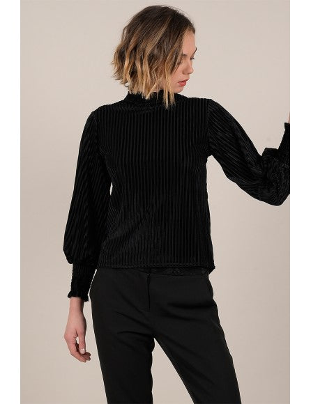 Pleated Velvet Top | Black