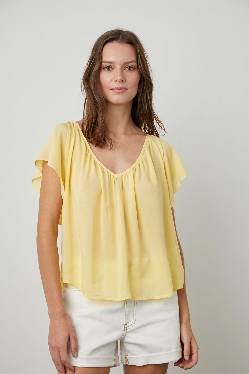 Rayon Challis V-Neck Top | Daisy