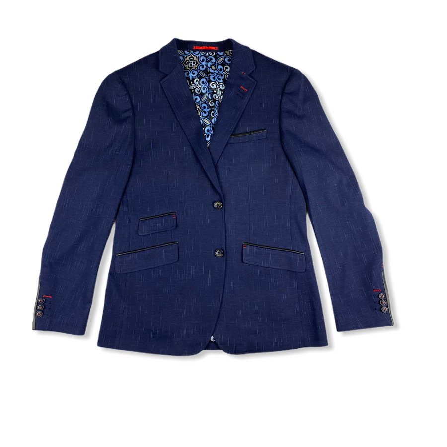 Stretch Blazer - Blue Leather Detail