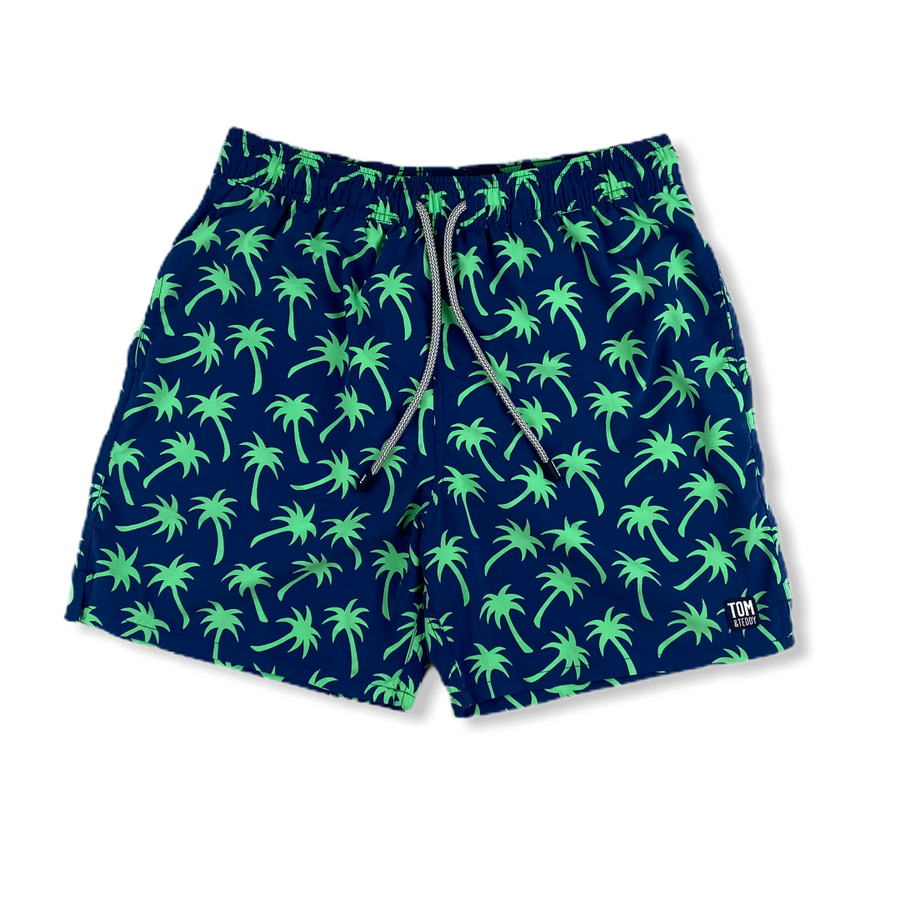 Navy & Green Palms Swim Trunks