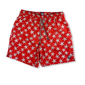 Rose & Blue Star Fish Swim Trunks