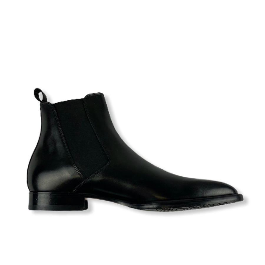 HANDMADE CHELSEA BROGUE BOOTS IN BLACK CALF LEATHER