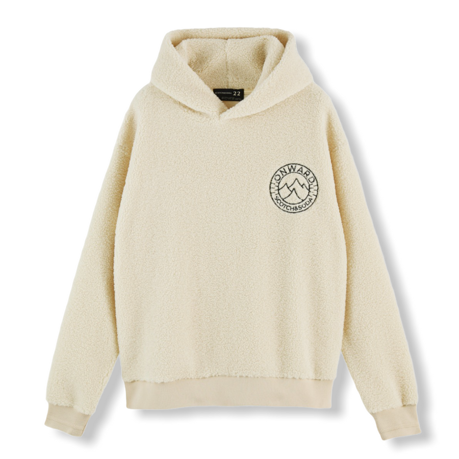 Sherpa Hoodie with Embroidered Chest