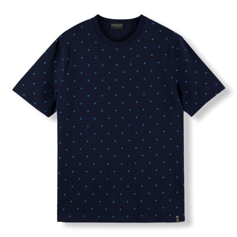 PRINTED CREW NECK T-SHIRT - NAVY