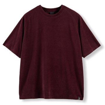 RELAXED FIT VELOUR T-SHIRT - BURGUNDY