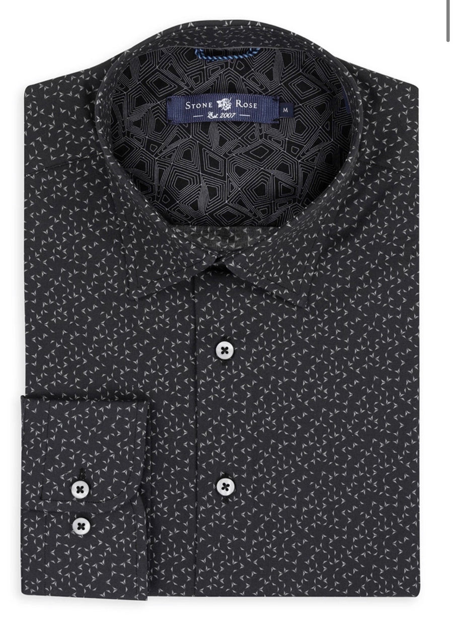 Button-Down Black Geometric Print