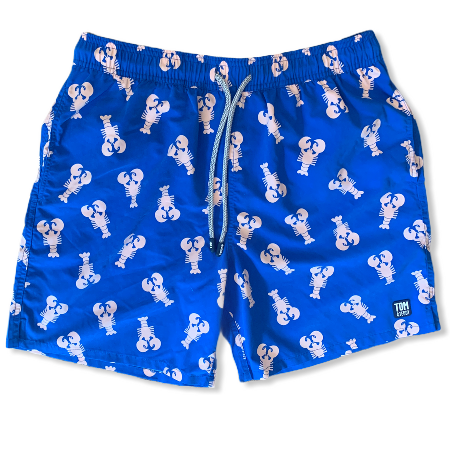 Mid Blue and Pink Lobster Swim Trunks