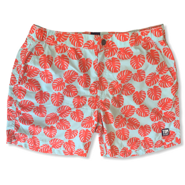 Sky Blue and Red Leaves Swim Trunks
