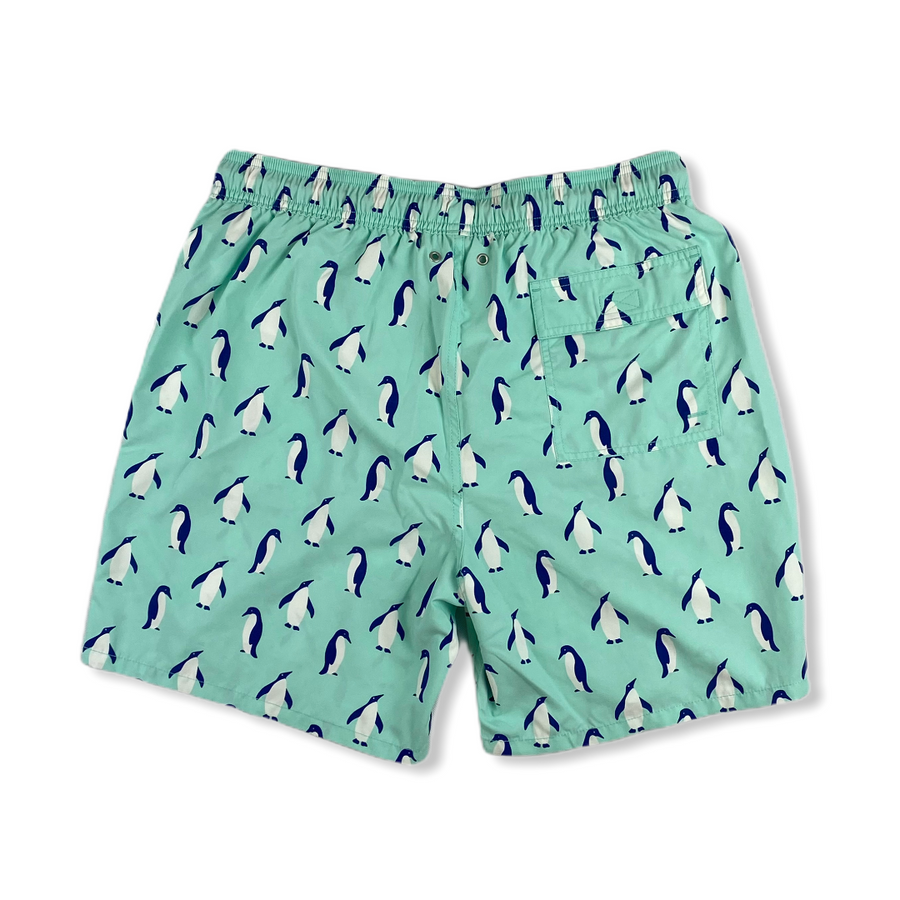 Blue Penguin Swim Trunks