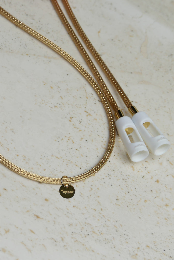 Tapper Solid 18K Yellow Gold Double Knitted Mesh Chain for Apple AirPods and AirPods Pro_www.gettapper.com