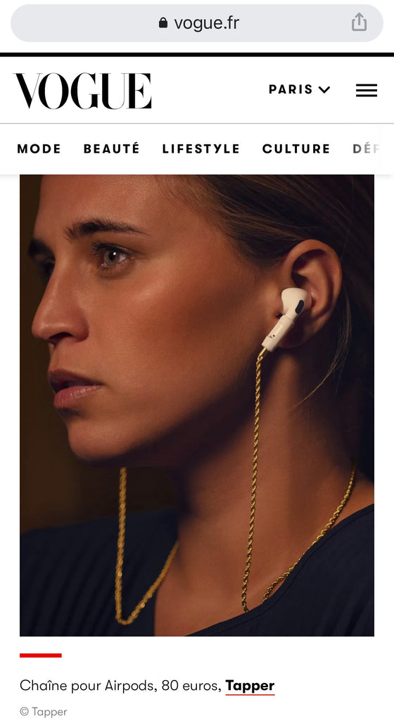 Tapper Strap and Chain necklace for Apple AirPods and AirPods Pro featured in Vogue Paris || vogue.fr || www.gettapper.com