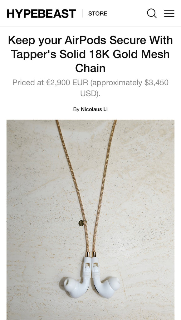 Tapper solid 18K gold mesh chain necklace for Apple AirPods and AirPods Pro featured in Hypebeast.com || www.gettapper.com