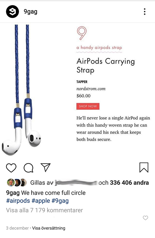 Tapper AirPods Carrying Strap in 9gag