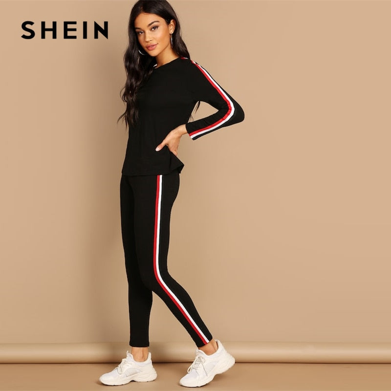904fb8294d SHEIN Streetwear Black Striped Tape Tee & Pants Long Sleeve Round Neck Set  Women Two Pieces