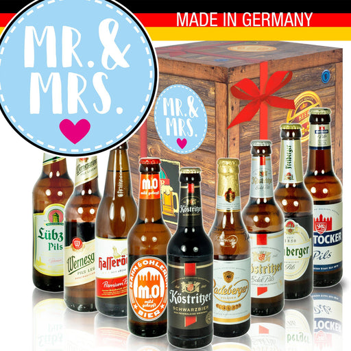 "Mr.& Mrs - Geschenkbox ""Ostbiere"" 9er Set"