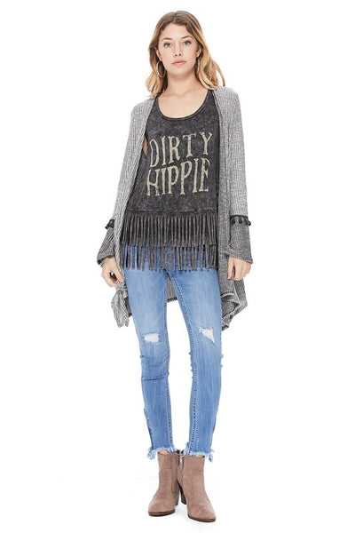 Dirty Hippie Fringe Tank in Black Mineral Wash