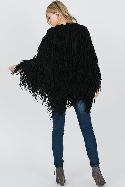 Furry Hand Knotted Fringe Dolman Cardigan