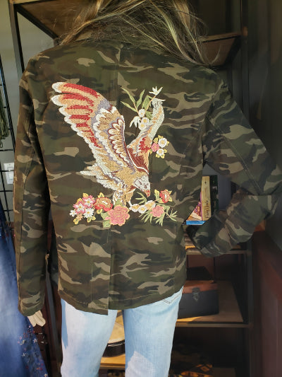 Camouflage Eagle Embroidered Jacket