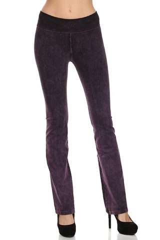 Mineral Wash Foldover Pants - Purple
