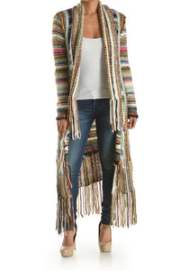 Multi Color Fringe Sweater Cardigan