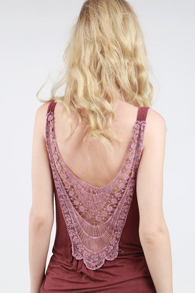 Crochet Back Loose Tank - Burgundy