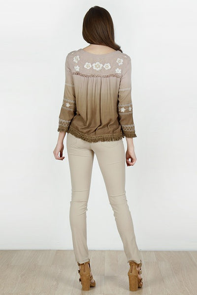 Floral Embroidered Zip-up Jacket - Brown