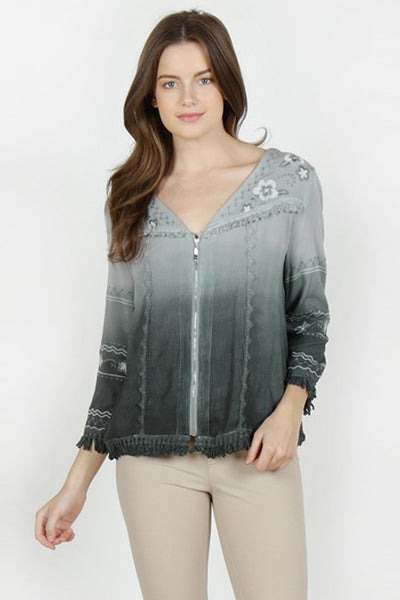 Floral Embroidered Zip-Up Jacket - Charcoal