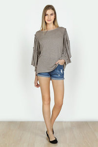 Crochet Lace Back Bell Sleeve Top