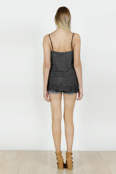 Acid Wash Basic Vintage Camisole - Charcoal