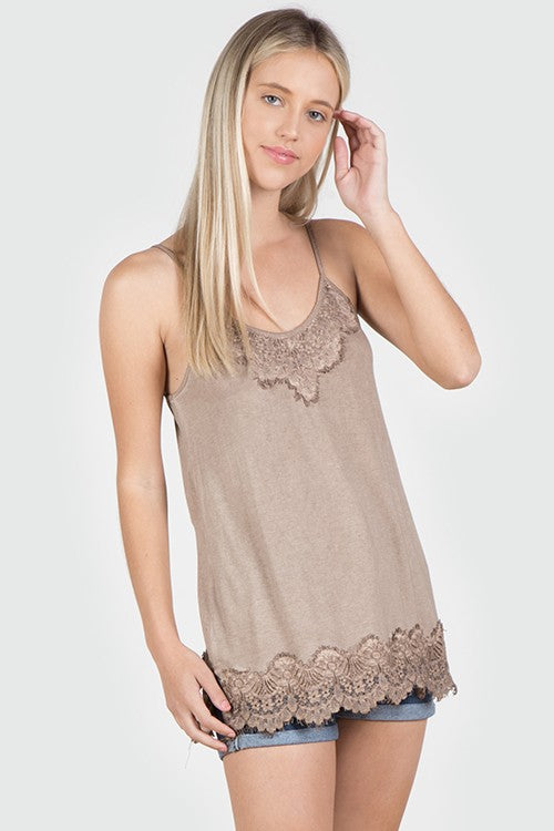 Acid Wash Basic Vintage Camisole - Taupe