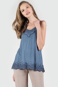 Acid Wash Basic Vintage Camisole - Blue