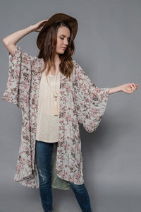 Kimono Duster with Floral Print