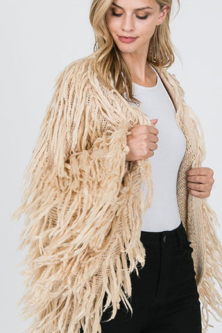 Furry Hand Knotted Fringe Dolman Cardigan - Taupe